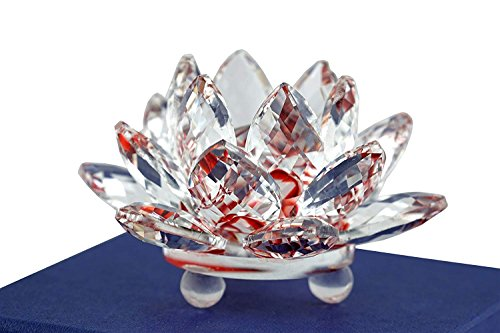 Mstechcorp High Quality Sapphire Sparkle Crystal 3 inch Decorative Clear Reflection Lotus Flower For Feng Shui Home Decor with Gift Box (Ruby ()