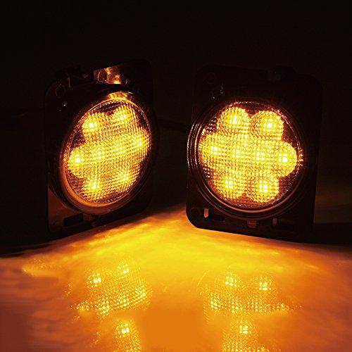 Xprite LED Side Maker Lights Smoke Lens for 2007-2018 Jeep Wrangler Amber Front Fender Flares Parking Turn Indicator Lamp