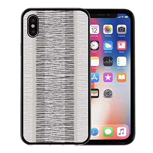 (Semtomn Phone Case for Apple iPhone Xs case,Taupe Grey Beige Stripes Burlap Quilting Imitation Natural Fibers Hand Work Neutral for iPhone X Case,Rubber Border Protective Case,Black )