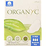 Organyc 100% organic cotton pads with wings for sensitive skin, moderate 10 Count