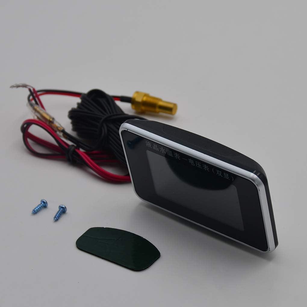 Tifanyyg 24V cami/ón Medidor del Coche cami/ón del volt/ímetro Voltaje 2pcs Set 12V 24V LCD indicador de Pantalla Medidor de Temperatura del Agua del term/ómetro