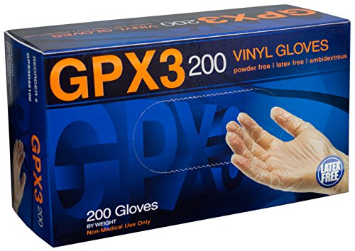 AMMEX – GPX3D – Vinyl Gloves – 200/box, Disposable, Powder Free, Industrial Grade, Food Safe, 3 mil, Clear