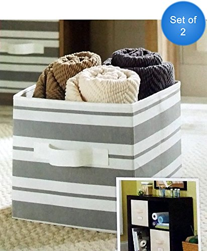 Better Homes And Gardens Collapsible Fabric Storage Cube Set Of 2 Gray Stripe
