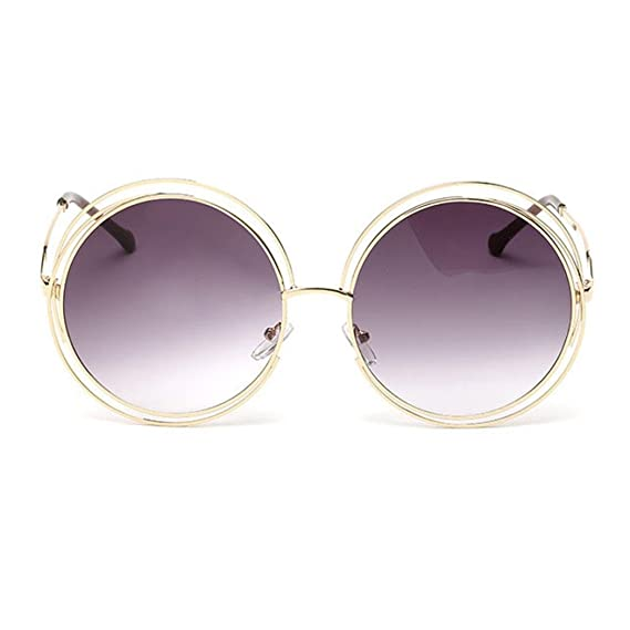 SALLYDREAM Steampunk estilo retro inspirado círculo metálico redondo gafas de sol polarizadas para hombres (L) FRL3iOvEJ