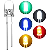 GoBagee® BRANDED 5mm Ultra Bright LED(Light Emitting Diode) White,Green,Red,Yellow,Blue Color Each 20Pcs Mix Total -100Pcs