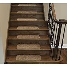 """Ottomanson Comfort Collection Soft Solid (Non-Slip) Plush Carpet Stair Treads, 14 Pack, 9"""" x 26', Camel"""
