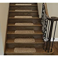 Ottomanson Comfort Collection Soft Solid (Non-Slip) Plush Carpet Stair Treads, 14 Pack, 9 x 26, Camel