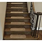 """Ottomanson Comfort Collection Soft Solid (Non-Slip) Plush Carpet Stair Treads, 14 Pack, 9"""" x 26, Camel"""