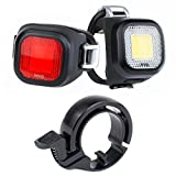KNOG Blinder Mini Chippy Bicycle Head Light/Tail Light Twinpack and Oi Bell (Small) Bike Safety Kit