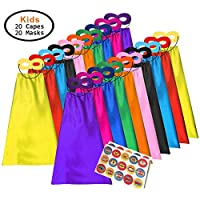 ADJOY Superhero Capes and Masks for Kids - Dress Up Super Hero Costume for Parties
