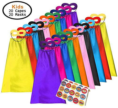 ADJOY Superhero Capes and Masks for Kids - Dress Up Super Hero Costume for (20s Diy Costume)