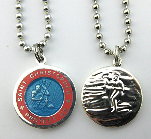 Saint Christopher Surf Medal Pendant Necklace,Baby Blue/Pink (BB/PI) Medium by Get Back Designs (Image #1)