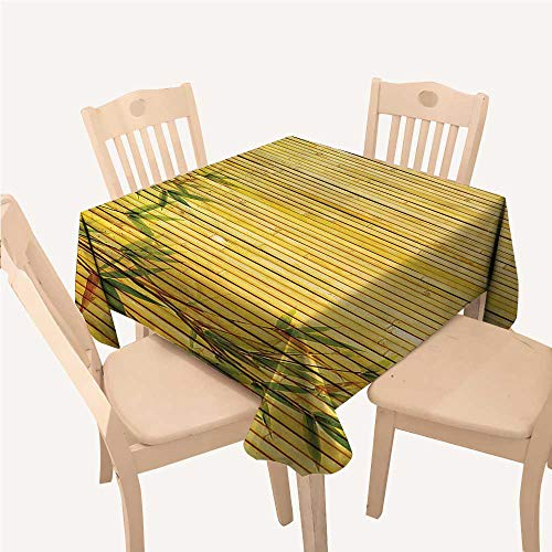 WilliamsDecor Bamboo House Decor Collection Reusable Tablecloth Light Golden Bamboo Background with Tree Branches Exotic Plants Zen Peaceful ArtGreen Square Tablecloth W54 xL54 ()