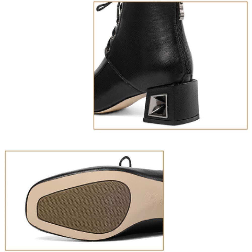 ZPEDY Stile Europeo E Americano, Americano, Americano, Scarpe da Donna Stringate, Cerniera, Testa Quadrata, Tacco Medio, Elegante ad3bcc