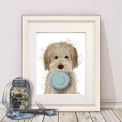 Cazvas Labradoodle Print - Labradoodle Cream Food Bowl - Doodle Dog Gift Doodle Home Decor Pet Gift Cute Painting Dog Gift for Dog Lover Funny Dog No-Frame