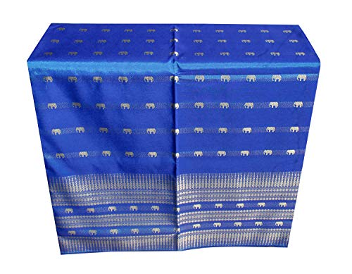 (RaanPahMuang Unstitched Woven Elephants Thai Silk Fabric for Skirt Dresses, 39 x 140 inches, Elephant Erawan - Cerulean Blue)
