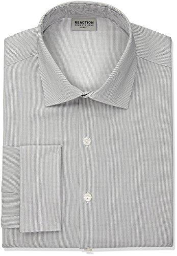 Kenneth Cole Reaction Men's Technicole Slim Fit Stretch Stripe Spread Collar Dress Shirt, Thunder, 16