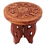 RGRANDSONS Handmade Handicrafted Wooden Carving Puja Chauki - Centre Piece for Table - Flower Vase - 4 Inches