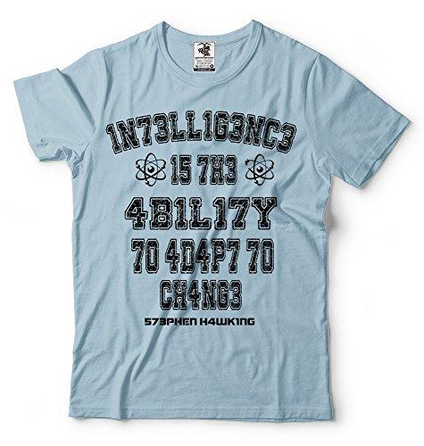 Shirt Silk Hommes Inteligence Stephen Hawking Bleu Tee Science T Road Professeur Pour Le shirt Clair Tees AqRHASFw