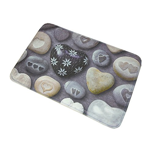 Carved Thin (SHINA Home Fashions Painted Fence absorbent Non-slip Doormat (Thin, Love Carved stone))