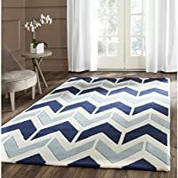 Safavieh Chatham Collection CHT756N Handmade Dark Blue and Light Blue Premium Wool Area Rug (8 x 10)