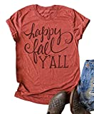 VKEGNIO Happy Fall Y'all Cute T Shirt Cute Thanksgiving Tees Women Letter Graphic Shirts Short Sleeve Casual Fall Tops (X-Large, Orange)