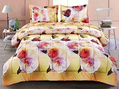 3 Piece Box Stitched 3d Butterfly & Camellia Flower Prints Faux Fur Comforter Set (D011) (Butterfly Comforter Queen)