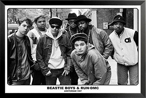 Buyartforless Framed Beastie Boys and Run-DMC - Amsterdam 1987 33x23.5 Music Art Print Poster
