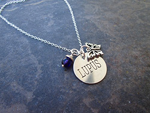 Lupus Medical Alert Necklace with Butterfly and Purple dangle charm with Sterling Silver chain