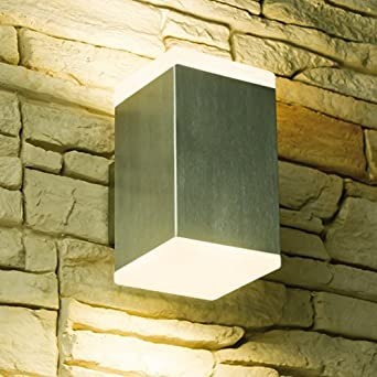 LED Wandleuchte CUBE, Außenleuchte, Außenlampe, Edelstahl, IP44, 230V,  Warmweiß (