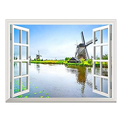 Removable Wall Sticker/Wall Mural - Windmill and a Peaceful Lake Out of The Open Window Wall Decorr - 36