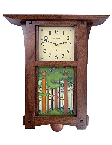 American Made Craftsman Style Pendulum Wall Clock with Woodland Forest Tile, 17