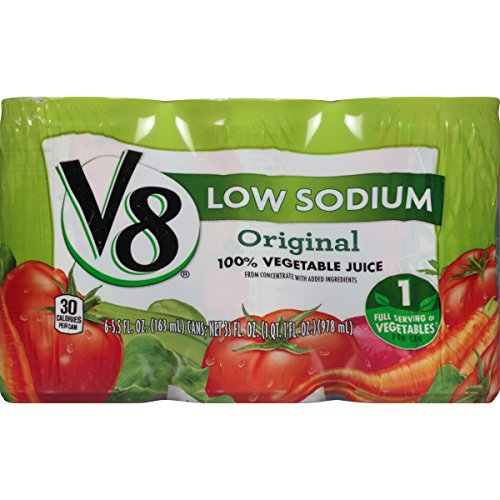 V8 Original Low Sodium 100% Vegetable Juice, 5.5 oz. Can, 6 Count