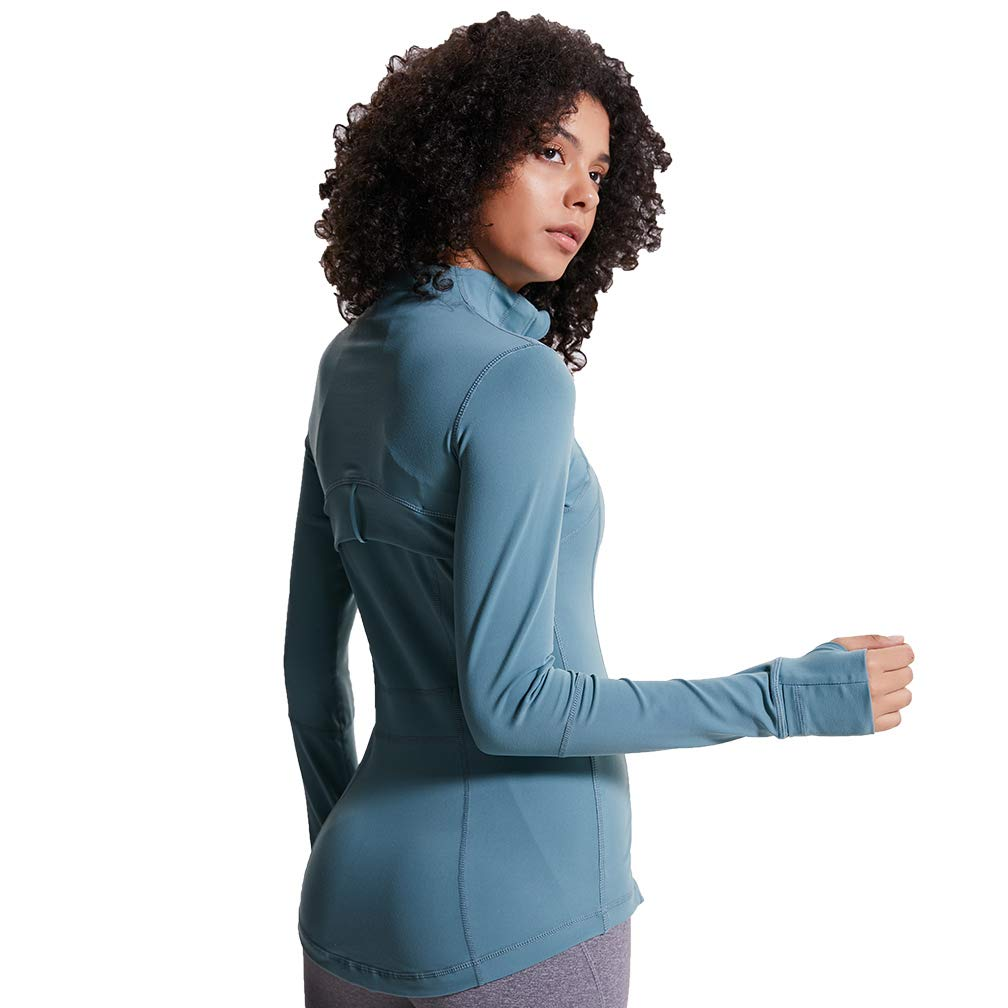 TERODACO Women Workout Yoga Jacket Full Zip Up Hoodie Stretchy w Thumb Holes