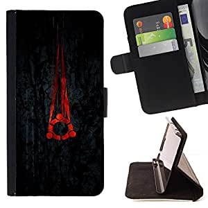 BETTY - FOR HTC Desire 820 - cool black red portal Linux - Style PU Leather Case Wallet Flip Stand Flap Closure Cover