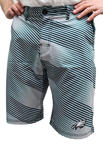 FOCO NFL Philadelphia Eagles Diagonal Stripe Walking Shorts, Team Color, Large/Size 36