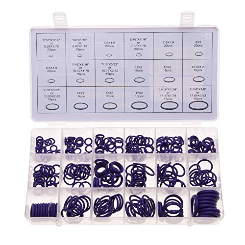 Alloet 1 Set/270 Pcs 18 Sizes Kit HNBR O Rings Repair Kit for Air Conditioning Car Auto Vehicle