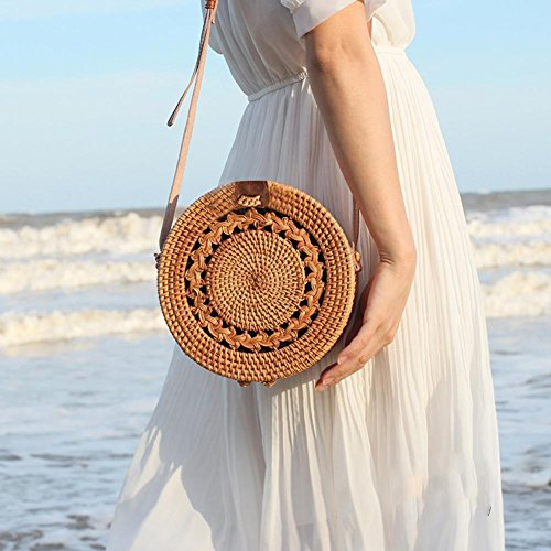 Piel Hombro de niña Househome de Elegante Bolsa tissés el Hombro nbsp;– nbsp;Bolsa Tirantes ratán para Mano con de Playa Bolsas la Mujer Redondo de con wSqwT6