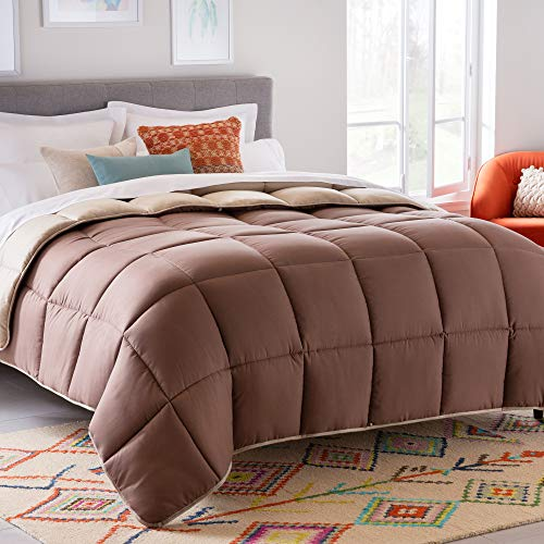 Linenspa All-Season Reversible Down Alternative Quilted Comforter - Hypoallergenic - Plush Microfiber Fill - Machine Washable - Duvet Insert or Stand-Alone Comforter - Sand/Mocha - Cal King