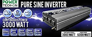 PowerTech On Advanced Technology PURE SINE WAVE Inverter 3000W Cont/6000W Peak, 12V DC to 120V AC w/ Black&Red Cables w/Ring Terminals, Remote Switch, Protection System & 4 Output Sockets  PS1004