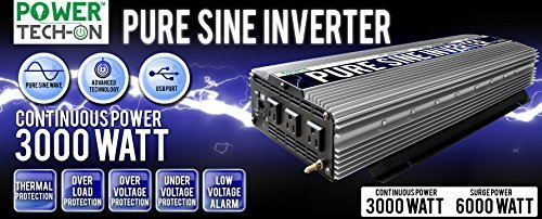 [PowerTech On Advanced Technology PURE SINE WAVE Inverter 3000W Cont/6000W Peak, 12V DC to 120V AC w/ Black&Red Cables w/Ring Terminals, Remote Switch, Protection System & 4 Output Sockets  PS1004] (Sine Inverter)
