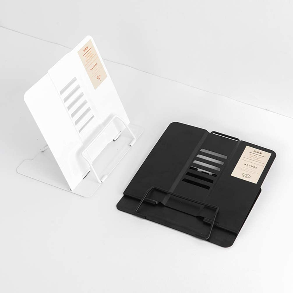 STOBOK Supporto per Libro Regolabile Supporto per Libro da Lettura Scaffale Pagina Supporto Carta Supporto di Lettura in Metallo per La Casa Allaperto//Nero