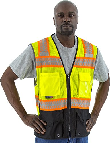 Majestic Heavy Duty Yellow Safety Surveyor Vest ANSI 2 Black Bottom 5XL Size