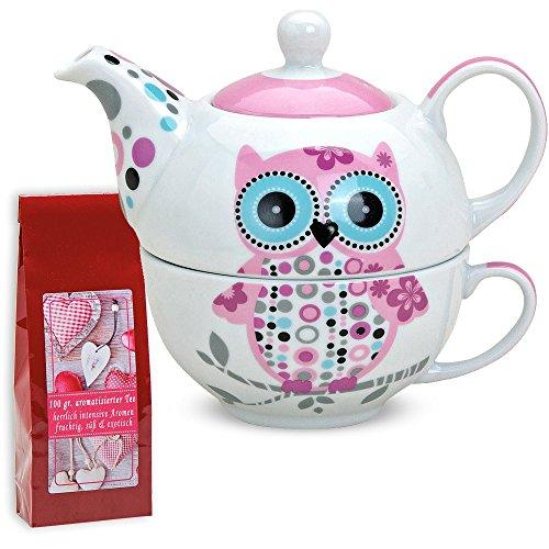Teekanne mit Tasse Teetasse TEA FOR ONE Set Eule rosa blau 17x17 cm aus Porzellan Geschenkset