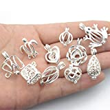 10pcs Silver Tone Mixed Design Necklace Bracelet Jewelry Making Supplies Pearl Beads Cage Pendant Essential Oil Diffuser Locket Pendants