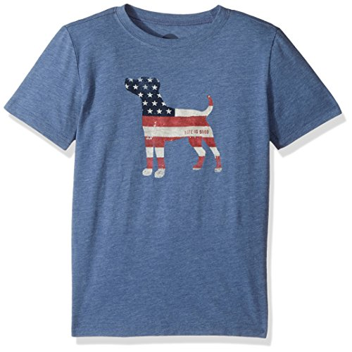Life is good Boy's B Ss Boys Cool T Dog Flag Vtgblu T-Shirt, Vintage Blue, Small