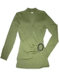 Women's Ruched Wrap Long Sleeve Cotton Knit Top