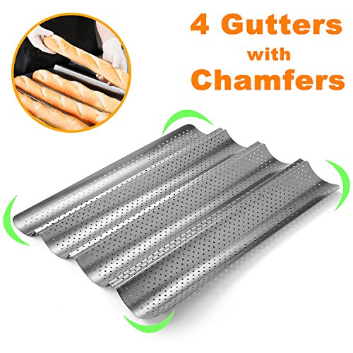 Perforated Baguette Pan, Homono Non-Stick Perforated French Bread Pan Wave Loaf Bake Mold, 15 by 13 by 1 inch 4 gutters (Color: grey metallic) ()