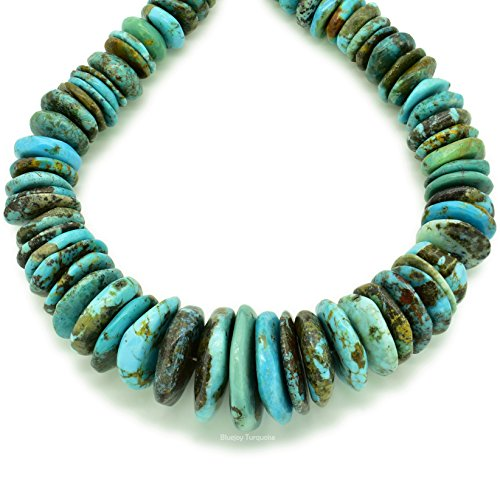 Bluejoy Indian-Style Natural Blue Turquoise XL Graduated Free-Form Disc Bead w/Bold Matrix 16-inch Strand for Jewelry Making (9mm-25mm) ()