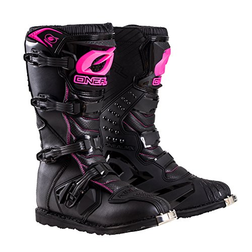 O'Neal Womens New Logo Rider Boot (Black/Pink, Size 9) (Motorcycle Helmet And Boots)